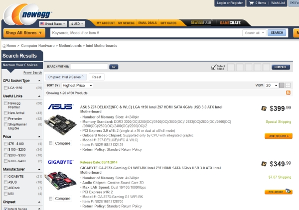 newegg-IntelZ97H97listing 1