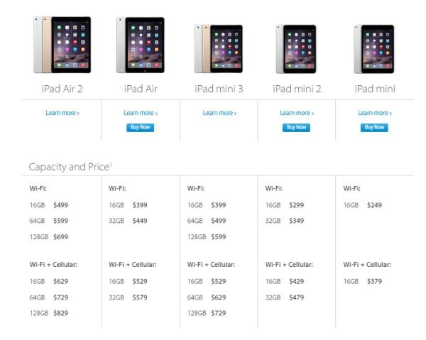 apple ipad versions