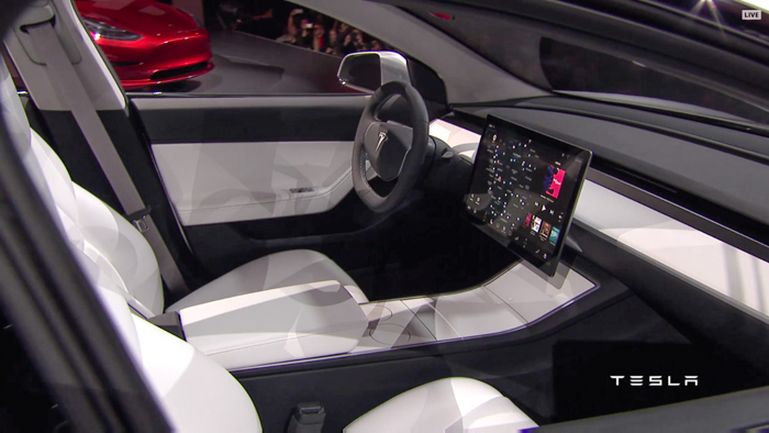 Tesla announces model 3 an all electric sedan for the masses for Tesla model 3 interieur
