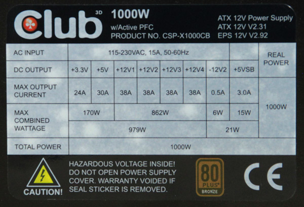 club-3d-1000W-PSU-multi-rail-design