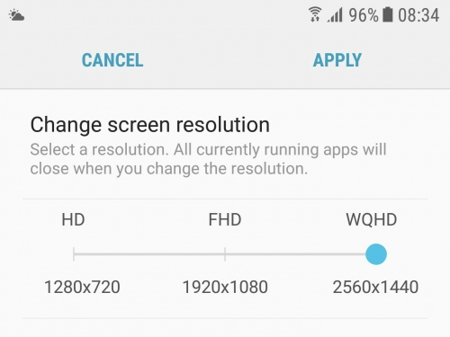 Galaxy S7 defaults to full HD after Android 7
