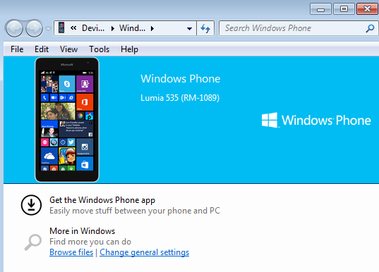 Lumia 535 connected to windows 7
