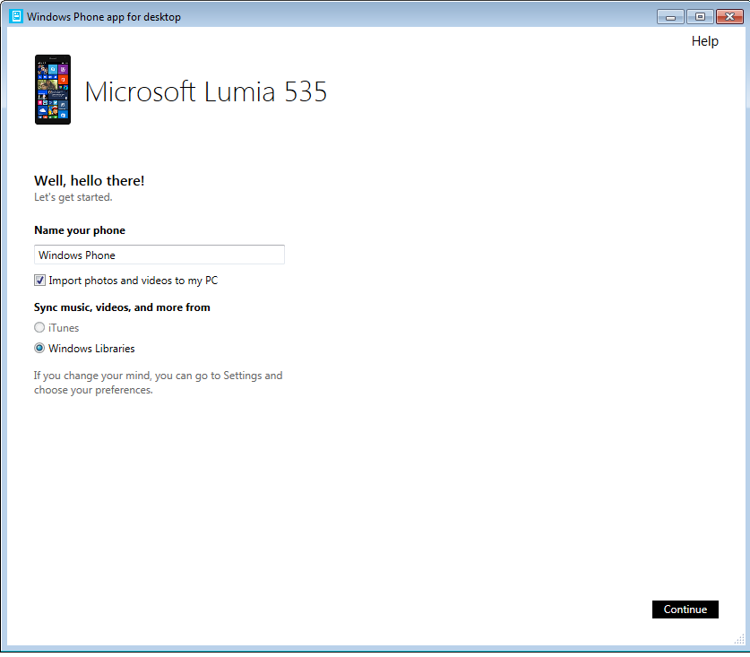 Lumia 535 connected to windows 7 n2