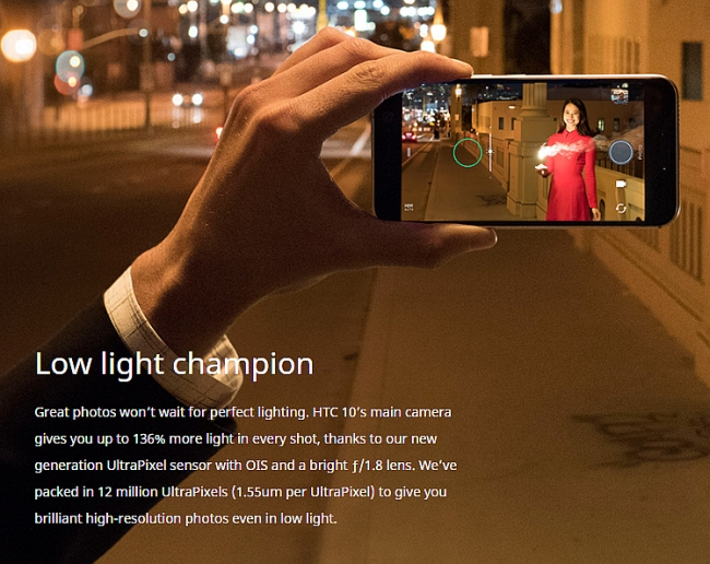 htc 10 webpage low light claim