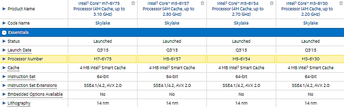 intel skylake core m cpus