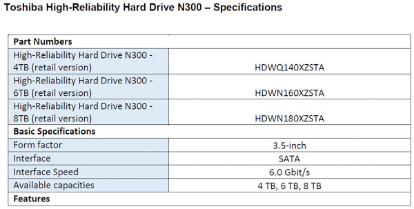 toshiba n300 nas specifications