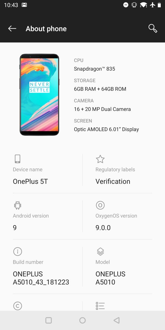 OnePlus5TAndroid9
