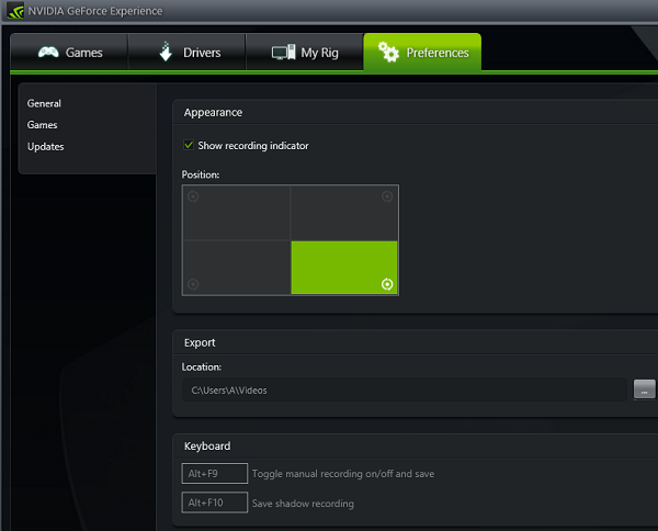 geforce experience alienware shadowplay preferences