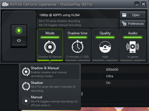 geforce experience alienware shadowplay yes modes