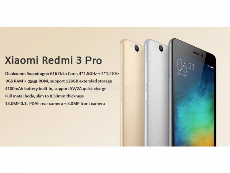 Xiaomi Redmi 3 Pro sells for $145 99